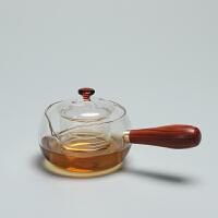 侧把木把玻璃茶壶 温花茶茶过滤带盖茶具煮茶器