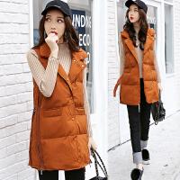 棉衣马甲女士外套冬季新款女装韩版中长款加厚棉衣外套女潮羽绒棉 焦糖色