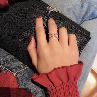 日韩不掉色开口食指戒指女个性网红潮人学生指环玫瑰金冷淡风戒子