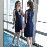 大码女装胖mm连衣裙2019春装新款条纹拼接显瘦假两件A字裙子