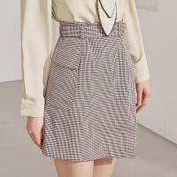 【两件1.5折价:71.7】2021年春新品女装时尚方格带腰带包臀开叉气质半身裙女