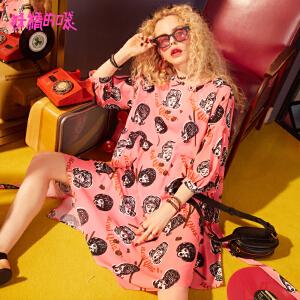 【秒杀价:148】妖精的口袋sukol裙新款字母圆领chic泡泡袖连衣裙女