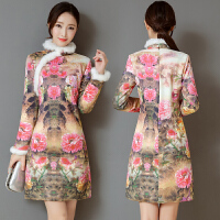 冬季长袖旗袍裙新款优雅气质少女秋冬款修身连衣裙女装潮