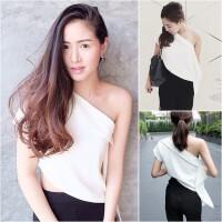 2018夏装新款泰国潮牌性感夜店装修身斜肩露肩不规则短袖T恤上衣
