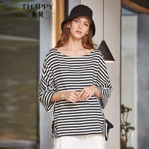 海贝2018春季新款女装上衣 圆领长袖开衩系带宽松休闲条纹T恤
