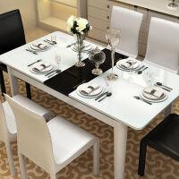 【限时直降 质保三年】现代倾心餐桌椅可伸缩黑白烤漆 组合环保简约方形饭桌