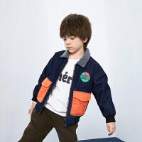 【品类日3件2折:129】巴拉巴拉旗下巴帝巴帝2019年冬男童中大童加绒加厚儿童撞色牛仔外套