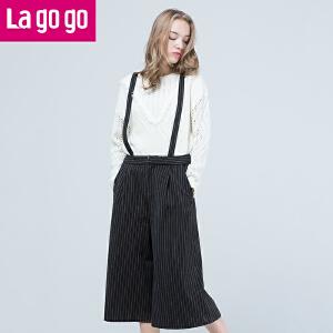Lagogo/拉谷谷2016年冬季新款时尚背带七分裤
