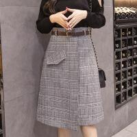 格子裙半身裙2018新款秋季复古百搭韩版不规则中长款一步裙包臀裙