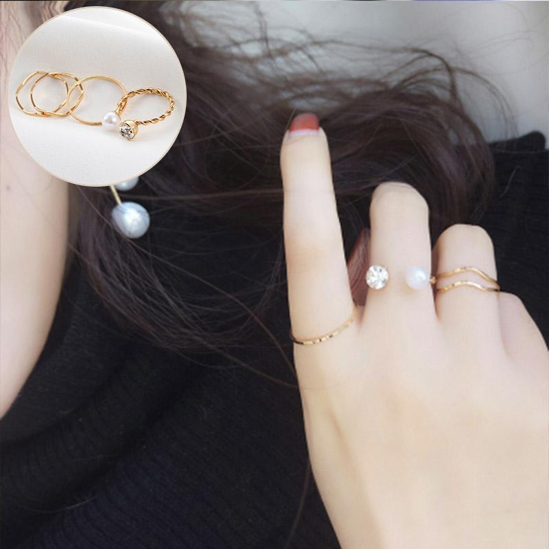 饰品简约指环女食指关节开口戒指日韩潮人学生个性尾戒小指男 荧光绿 60#金色四件套