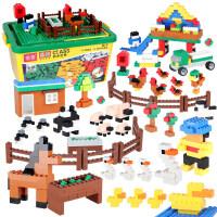 小颗粒积木桌拼插积木底板大圆桌收纳游戏男女孩6-8-9周岁