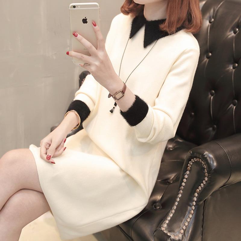 中长款加厚毛衣套头打底衫女士冬装新款小方口拼色长袖连衣裙