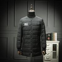 欧洲站 黑色羽绒服男士棒球领中长款修身羽绒外套时尚青年外套潮