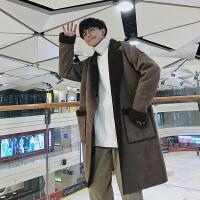 风衣男秋冬季新款羊羔毛中长款大衣韩版潮流男生文艺复古加厚外套