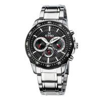 2018年新款 EYKI艾奇 韩版多功能男士手表 全不锈钢 日历星期三眼钢带表