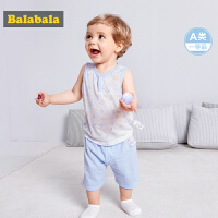 巴拉巴拉男婴儿套装短袖纯棉两件套夏装2018新款女宝无袖衣服裤子