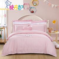 富安娜家纺 酷奇智儿童学生纯棉素绣床品套件床单被套枕套三件套四件套