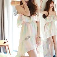 2018夏装韩版新款甜美气质彩色沙滩裙长裙修身显瘦抹胸雪纺连衣裙