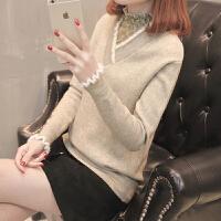 女士毛衣女装春装2018新款短款V领蕾丝打底衫针织上衣百搭时尚潮