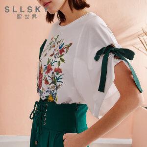 熙世界2018夏季新款ins超火的印花短袖t恤女五分袖上衣潮112ST019