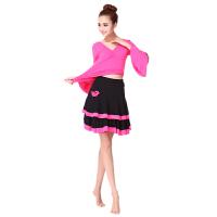 广场舞服装裙子套装新款女拉丁舞演出服双层裙子舞蹈服夏大码
