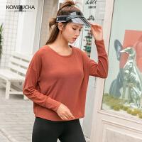 【折上1件8折/2件7.5折】Kombucha瑜伽健身长袖T恤2019新款女士宽松透气蝙蝠袖运动上衣JCCX457