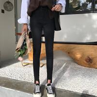 韩版2018秋冬装新款女学生小脚铅笔裤子修身显瘦高腰破洞牛仔长裤