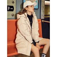 拉夏贝尔轻薄羽绒服女中长款冬季新款韩版修身长款过膝学生小个子外套