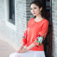 中国风女装上衣夏装民族风绣花七分袖女宽松棉麻亚麻大码衬衫衬衣