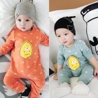 婴儿连体衣春秋季新生男女宝宝哈衣爬服全棉0-3-6-12个月外出衣服