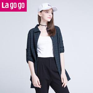Lagogo/拉谷谷2016秋季新款直筒长袖格子衬衫