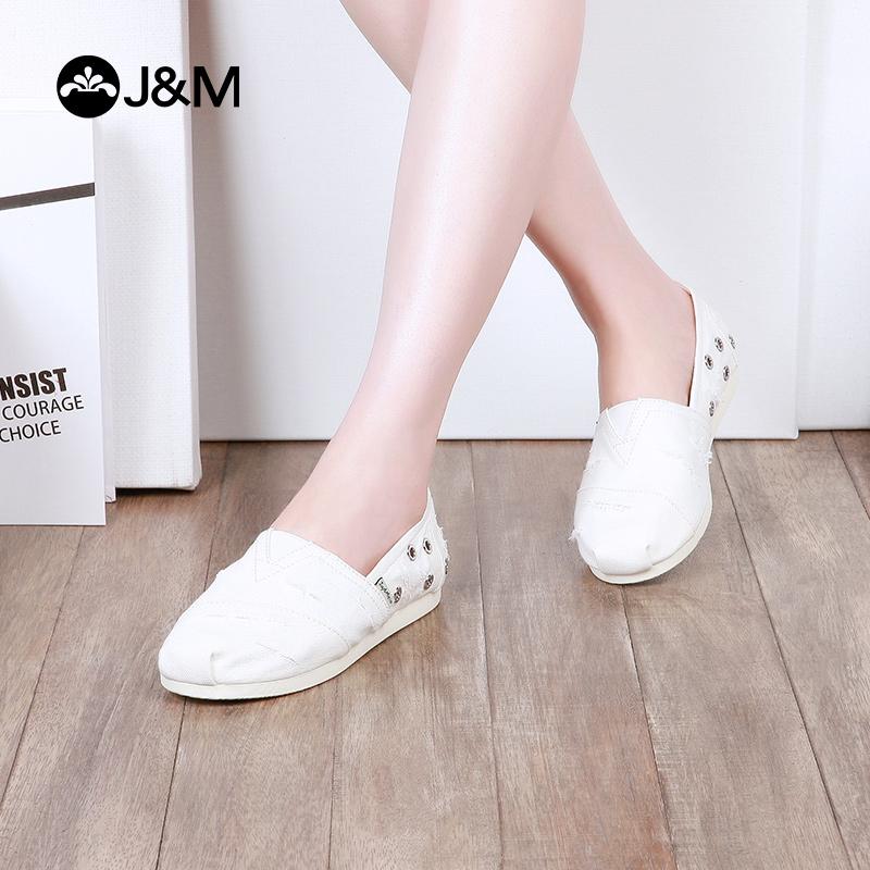 jm快乐玛丽2018春季新款平底纯色休闲平底女士小白鞋帆布鞋61872W牛仔布面料 拉毛设计 时尚个性 舒适百搭