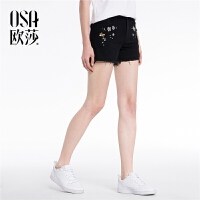 ⑩OSA欧莎2018夏装新款女装 个性钉珠显瘦磨边牛仔短裤B53020