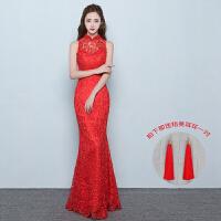 新娘结婚敬酒服旗袍2018新款中式婚纱红色复古礼服长款修身鱼尾女