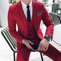 新品18四季男士韩版修身潮流红色西服裤子马甲套装青年小伙结婚三
