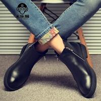 米乐猴 潮牌冬季英伦低帮拉链尖头马丁靴男靴韩版短靴男休闲皮鞋男士皮靴棉鞋男鞋