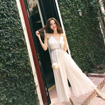 2019新款女装夏季巴厘岛沙滩裙海边度假阔腿裤连衣裙吊带裙 白色