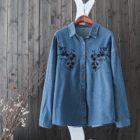 QG32韩版原宿风水洗全棉花朵植绒刺绣牛仔衬衫长袖打底衬衣外套潮