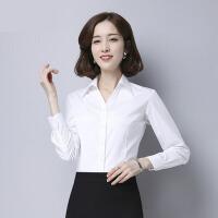 白衬衫女长袖韩范修身V领女衬衫工作服衬衣女春夏