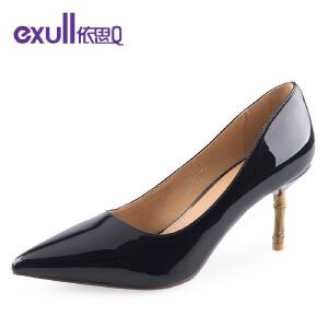 依思q新款浅口性感漆皮女鞋尖头高跟鞋女细跟单鞋