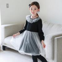 2019 秋冬童装网纱裙韩版中大童连衣裙女童打底裙 黑色