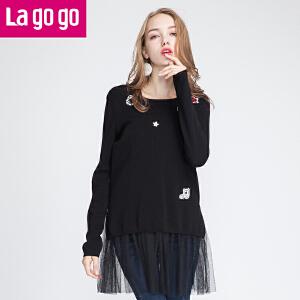 【每满200减100】lagogo黑色圆领毛针织衫两件套长袖女装网纱镂空宽松套头薄上衣