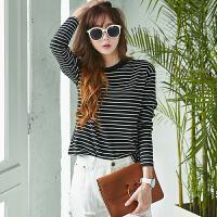 半高领黑白条纹打底衫女装上衣秋冬长袖T恤简约短款宽松胖mm小衫 黑白条纹