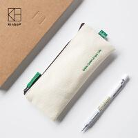 kinbor学生笔袋 帆布韩国文具创意简约pu女生铅笔袋 随身收纳手包