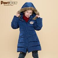 【3件2折 到手价:300】Pawinpaw宝英宝卡通小熊童装女童长款连帽白鸭绒羽绒服儿童外套