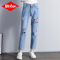 Lee Cooper新款牛仔裤女泫雅风老爹牛高腰直筒小个子刺绣宽松牛仔裤