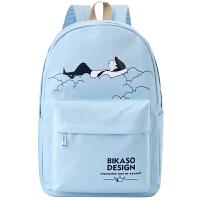 帆布书包女2018新款韩版休闲背包高中学生校园双肩包 Y