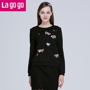 Lagogo拉谷谷2016年春季新款黑色宽松卫衣长袖T恤女