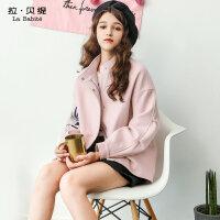 2017秋冬季新款韩版中长款chic森系外套粉色羊毛呢子大衣女士加厚