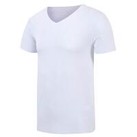 男士无痕半袖莫代尔T恤男2018新款v领弹力韩版修身个性潮社会短袖 白色 夏季款